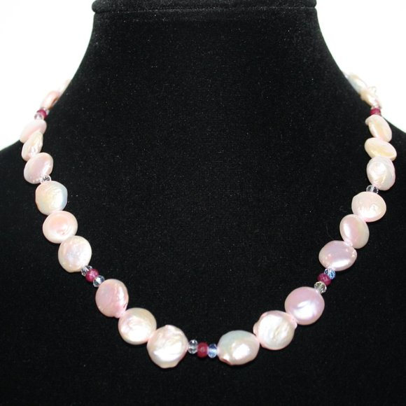 Natural pink pearl necklace 18""